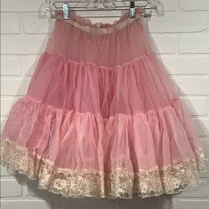 Light pink petticoat crinoline pinup retro lace